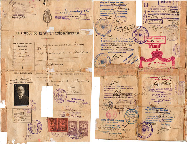 Moritz's Abraham document. This travel document was delivered by the Spanish consulate in Constantinople in November 1922. (Source)